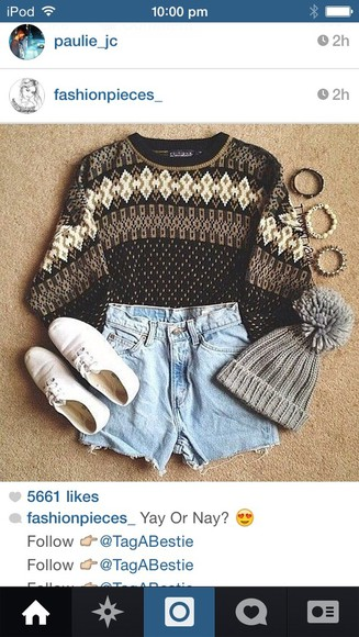 hipster spring indie soft grunge hippie vintage fall outfits beanie sweater pom pom beanie cute sweater fall sweater fall outfits sweater weather
