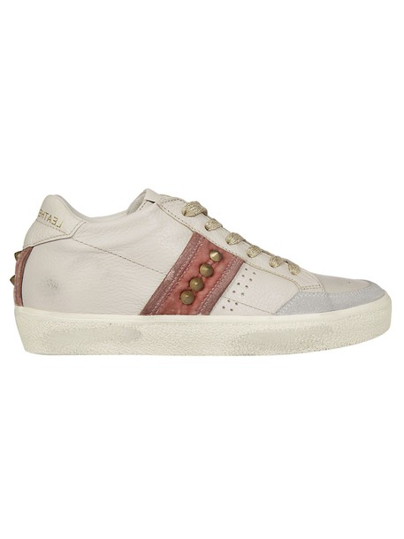 Leather Crown studded sneakers beige shoes