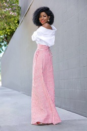 pants,striped pants,shirt,white shirt,top,wide-leg pants,stripes,off the shoulder,off the shoulder top,spring outfits