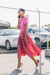 skirt,midi skirt,stripes,striped skirt,high heels,red skirt,pink t-shirt,graphic tee
