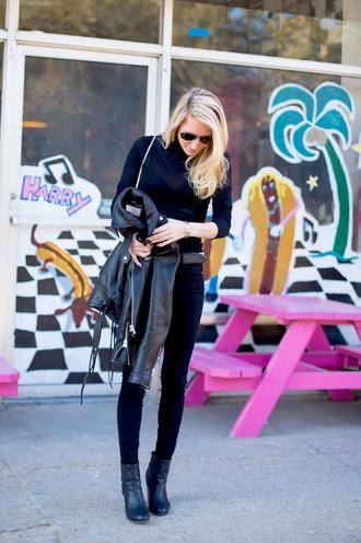 jacket krystal schlegel blogger bag belt shoes jeans