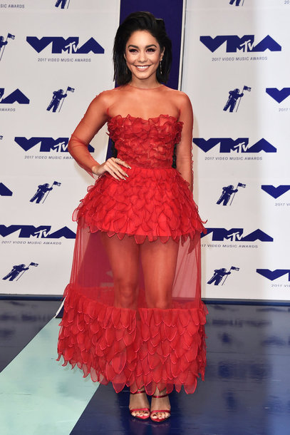 dress red dress red red carpet dress vanessa hudgens sandals vma lace dress see through gown prom dress prom gown mtv shoes