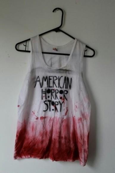 tank top white top t-shirt american horror story blood t-shirt red grunge