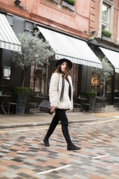 five five fabulous,blogger,fuzzy coat,suede boots,white fluffy coat,jeans,black jeans,boots,flat boots,black boots,over the knee boots,hat,black hat,white coat,winter outfits,winter coat,winter look,scarf,cold weather outfit,teddy bear coat