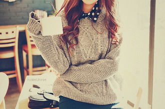 shirt clothes blouse sweater cardigan grey polka dots