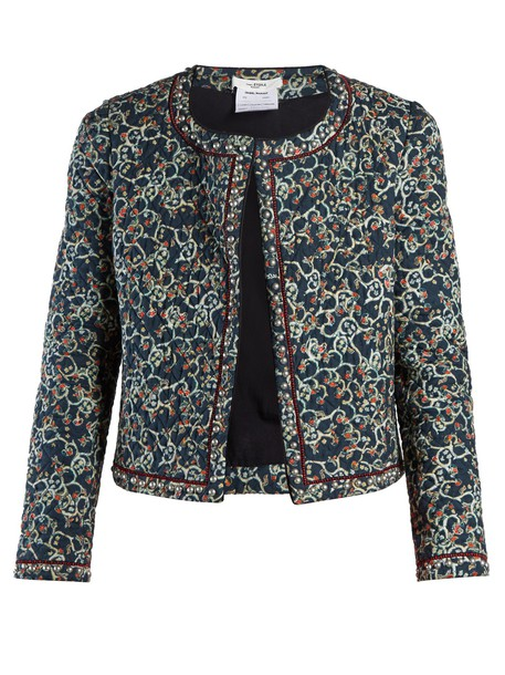 jacket quilted floral print black