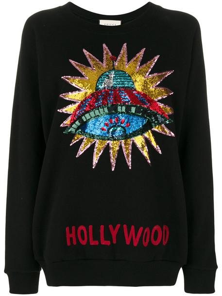 618ae43b3 gucci Gucci - sequin-embellished Hollywood sweatshirt - women - Cotton -  XS, Black, Cotton