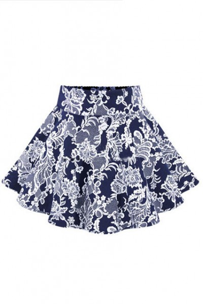 KCLOTH Floral Printed Skater Skirt  (Black / Blue )