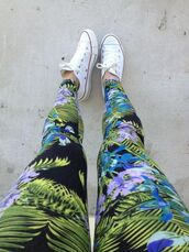 pants,black,blue,white,green,purple,leggings,palm,flowers,patterned leggings,floral pants,tropic print,tropical,tropic,floral,converse,fashion,style,jungle,jeans,tumblr,leaves,holidays,printed leggings,cool,streetwear,dope,printed pants,printed jeans,palms,colorful leggings,swag,chuck taylor all stars,cute,blue leggings,multicolor,plants,pattern,tropical pants,tropical patten,leafs,tropical print pants