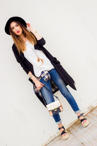 shoes and basics blogger coat blouse shirt jeans bag hat