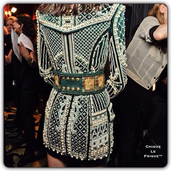 pearl green dress fashion balmain cool green dress