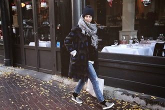to bruck ave blogger winter coat grey scarf printed vans pom pom beanie coat sweater jeans shoes bag scarf