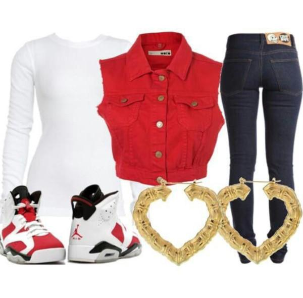 jacket red sleeveless jean jacket sexy jeans air jordan gold earrings top vest white jordans jordans skinny jeans black shoes white top long sleeves