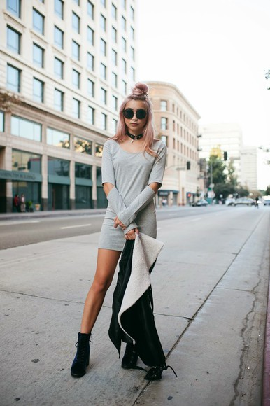sunglasses round sunglasses blogger jacket the blvck sheep cut-out leather jacket