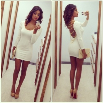 dress heels high heels white dress bag purse chain party party dress baige gold gold dress bodycon dress chain dress
