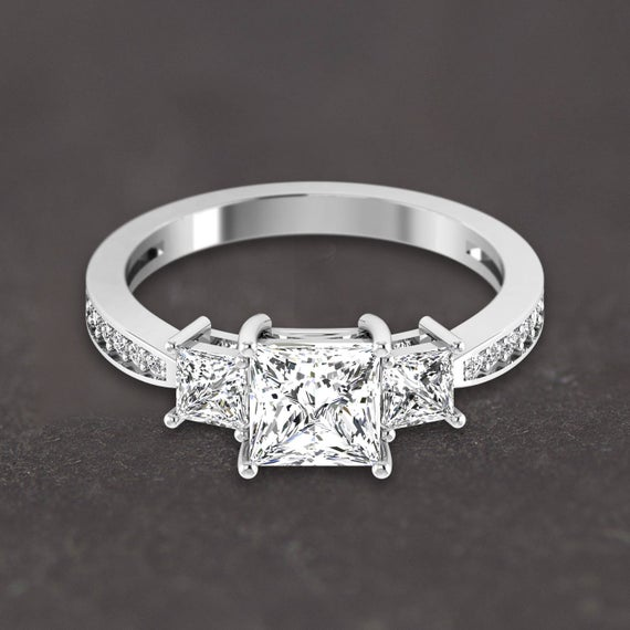 14k White Gold Three Stone Ring, Diamond Engagement Ring, Princess 3 Stone Trilogy Promise Ring for Her