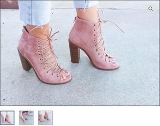 shoes blush pink dusty pink mauve booties ankle boots