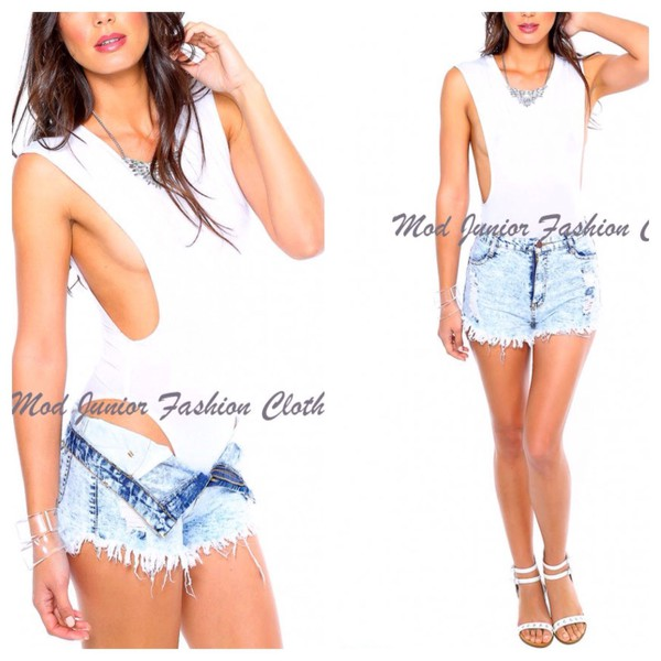 top bodysuit white top plunging sexy top clubwera casual beachwear beach romper denim shorts summer outfits summer love