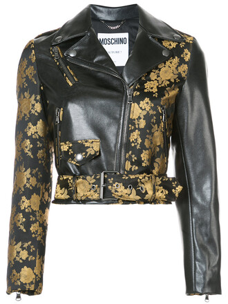 jacket biker jacket cropped women floral black
