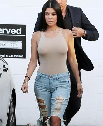 jeans kourtney kardashian bodysuit sexy armenian summer outfits nude sassy keeping up with the kardashians slay kardashians ripped jeans high waisted jeans