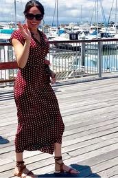 dress,polka dots,polka dots dress,meghan markle,celebrity,midi dress,wrap dress,sandals