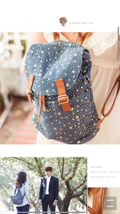 bag,blue backpack,stars print,kdrama,the heirs,park shin hye,printed backpack