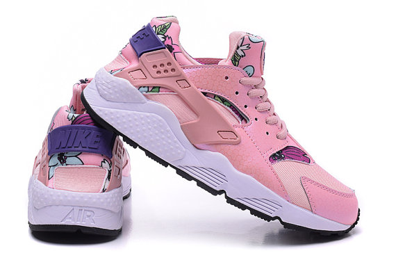 Nike Huarache Pink Flowers Custom Runing Shoes 1220c25aeb57