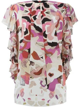 blouse floral print purple pink top