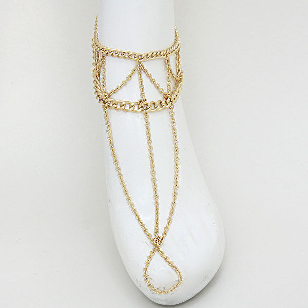 Anklet Foot Chain Gold Draped Layered Chains Toe Ring Sandal FlipFlop Jewelry | eBay
