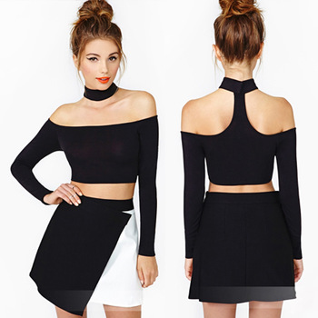 Novelty Sexy Halter neck Long Sleeve Fashion Casual T Shirts Women's Cotton Sexy Martch Shirts Off Shoulder Top Free Shipping-inT-Shirts from Apparel & Accessories on Aliexpress.com