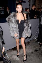 dress,mini dress,black dress,madison beer,Paris Fashion Week 2017,fashion week 2017,bustier dress,fur