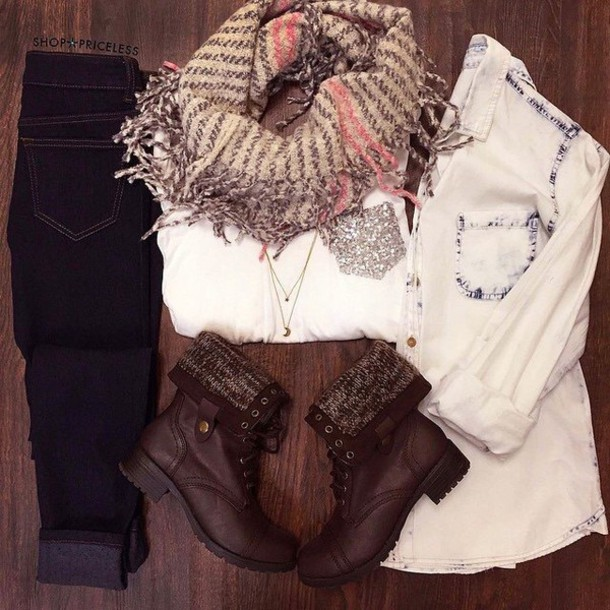 blouse jeans scarf shoes shirt