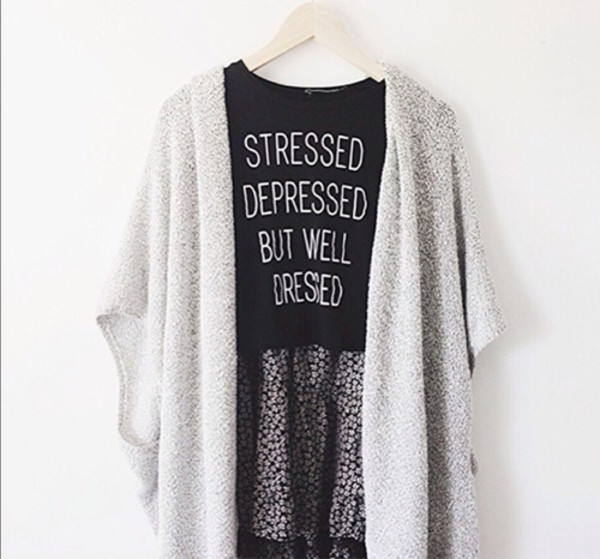 shirt fashion top top t-shirt crop tops black stressed depressed but well dressed cardigan