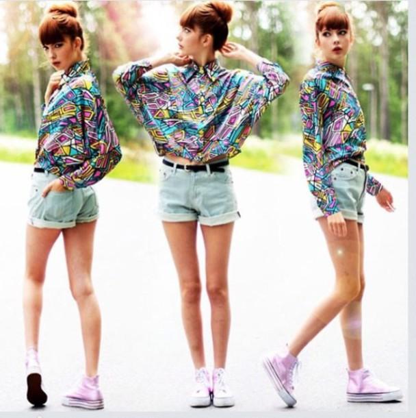 Shirt Blouse 80s Style 80s Style Blue Yellow Purple