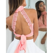 top,pink,blouse,lace,floral,open back,skirt,dress,cute,tumblr,girl,girly,style,crop,crop tops,cropped,girly wishlist,lace top