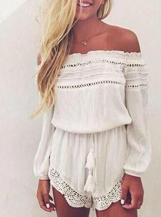 romper jumpsuit white lace romper lace summer off the shoulder