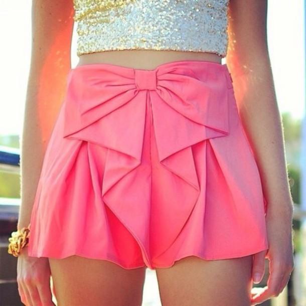 shorts bow pink shorts mini shorts