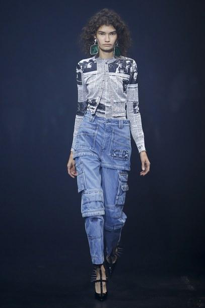 jeans balenciaga denim runway model Paris Fashion Week 2017