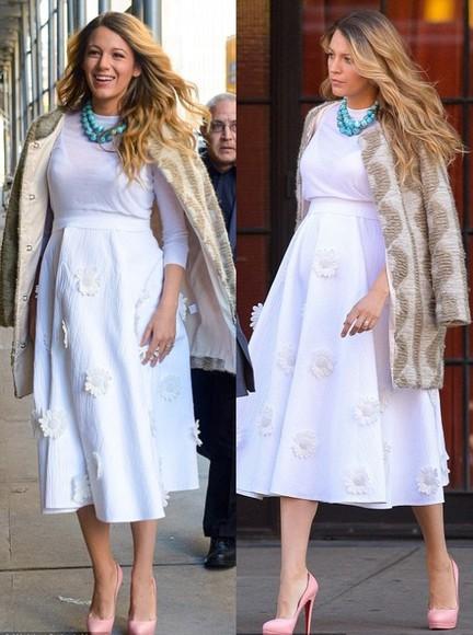 blake lively coat skirt white