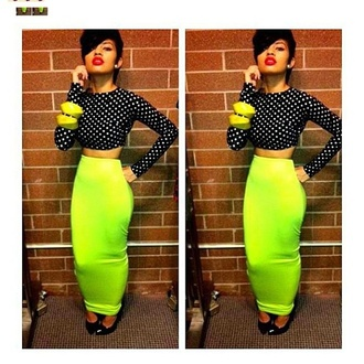 skirt lime maxi skirt bodycon dress polka dots dress jewels