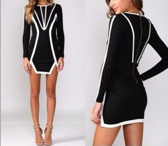 little black dress geometric long sleeves long sleeve dress