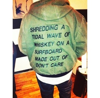 jacket writing waves cargo pants