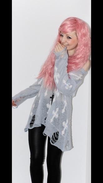 top grey cross grey goth pastel goth tumblr cute grey sweater tumblr outfit tumblr shirt githic gothic lolita dresses