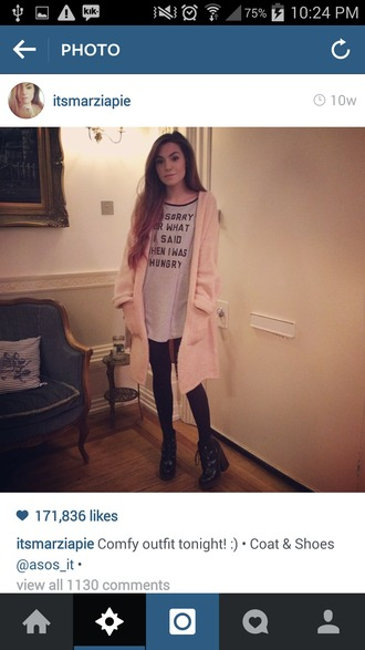 jacket nice light pink baby pink pale fluffy long sweater cardigan funny top blouse shirt white tights shoes quote on it pockets loose baggy cutepiemarzia marzia cutiepiemarzia light pink t-shirt midi skirt with pockets pastel grunge