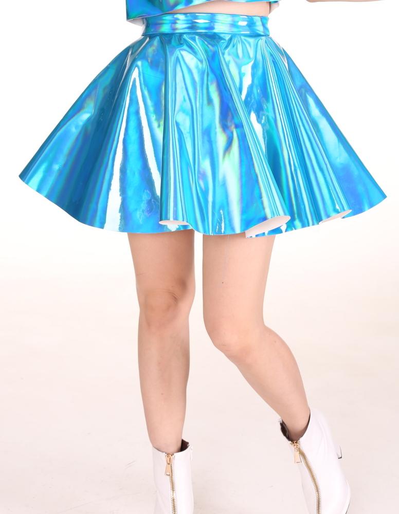 Glitters For Dinner — Made To Order - Blue Hologram Skater Skirt.