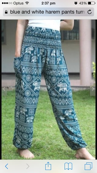 pants white blue bohemian harem pants