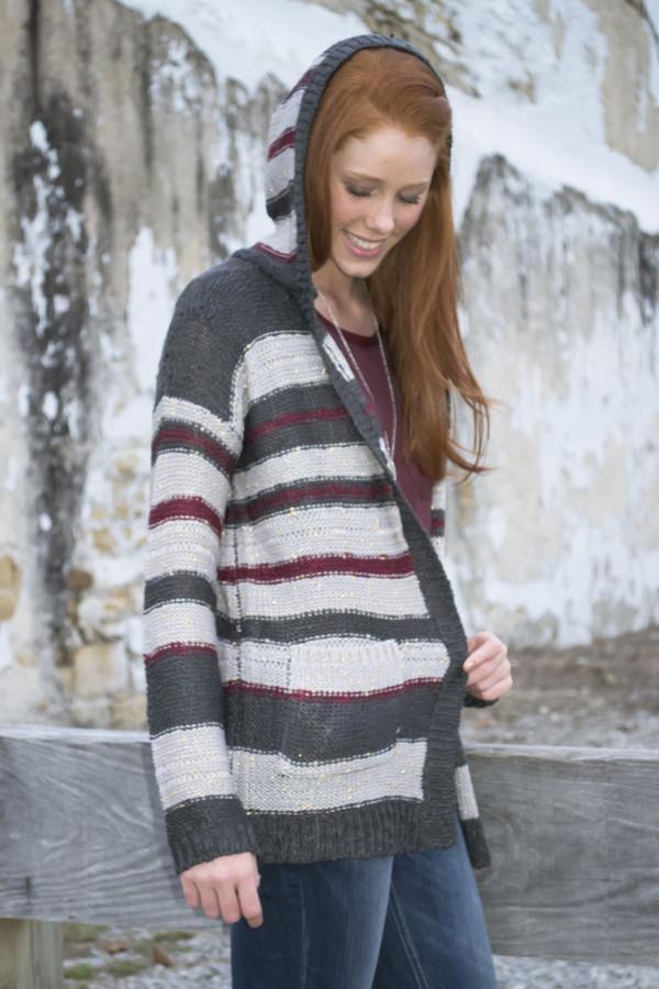cardigan pockets burgundy stripes shopsiloe fallcollection