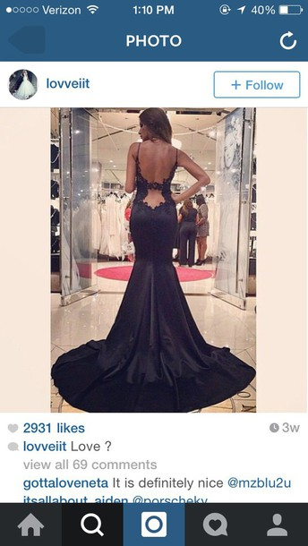 dress black backless long dress