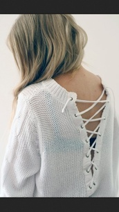 sweater,tie up back,knitted sweater,white