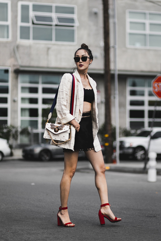the chriselle factor blogger jacket top swimwear shorts shoes bag